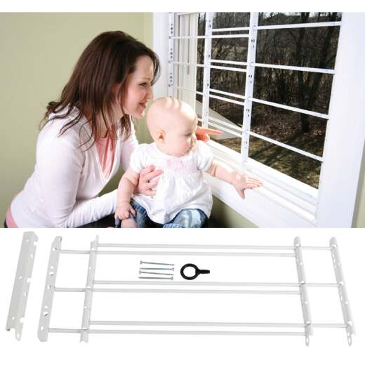 John Sterling Corp Hinged White Enamel 3-Bar Child Safety & Window Security Guard