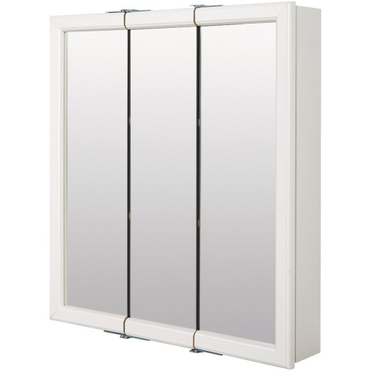 Zenith Zenna Home White 24 In. W x 28 In. H x 6 In. D Tri-View Surface Mount Medicine Cabinet