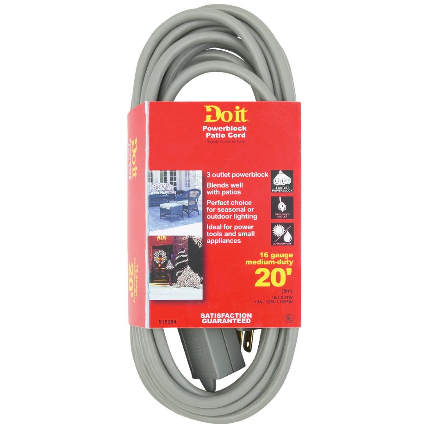 Do it 20 Ft. 16/3 3-Outlet Gray Extension Cord Image 2