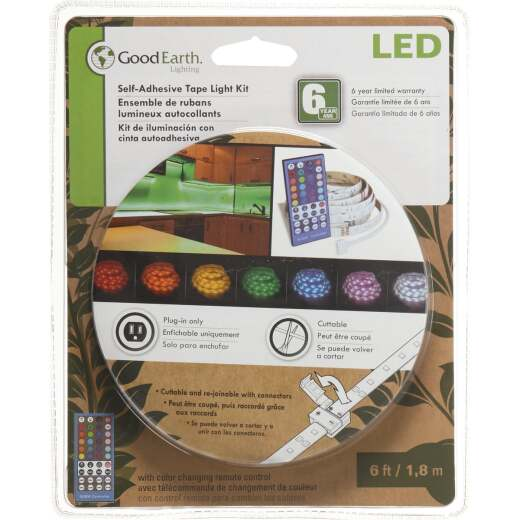 Good Earth Lighting 6 Ft. L. Plug-In Color Changing LED Under Cabinet Tape Light with Remote Control